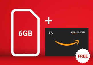 6GB SIM card for £15 Bundle + £5 Amazon Gift Card free