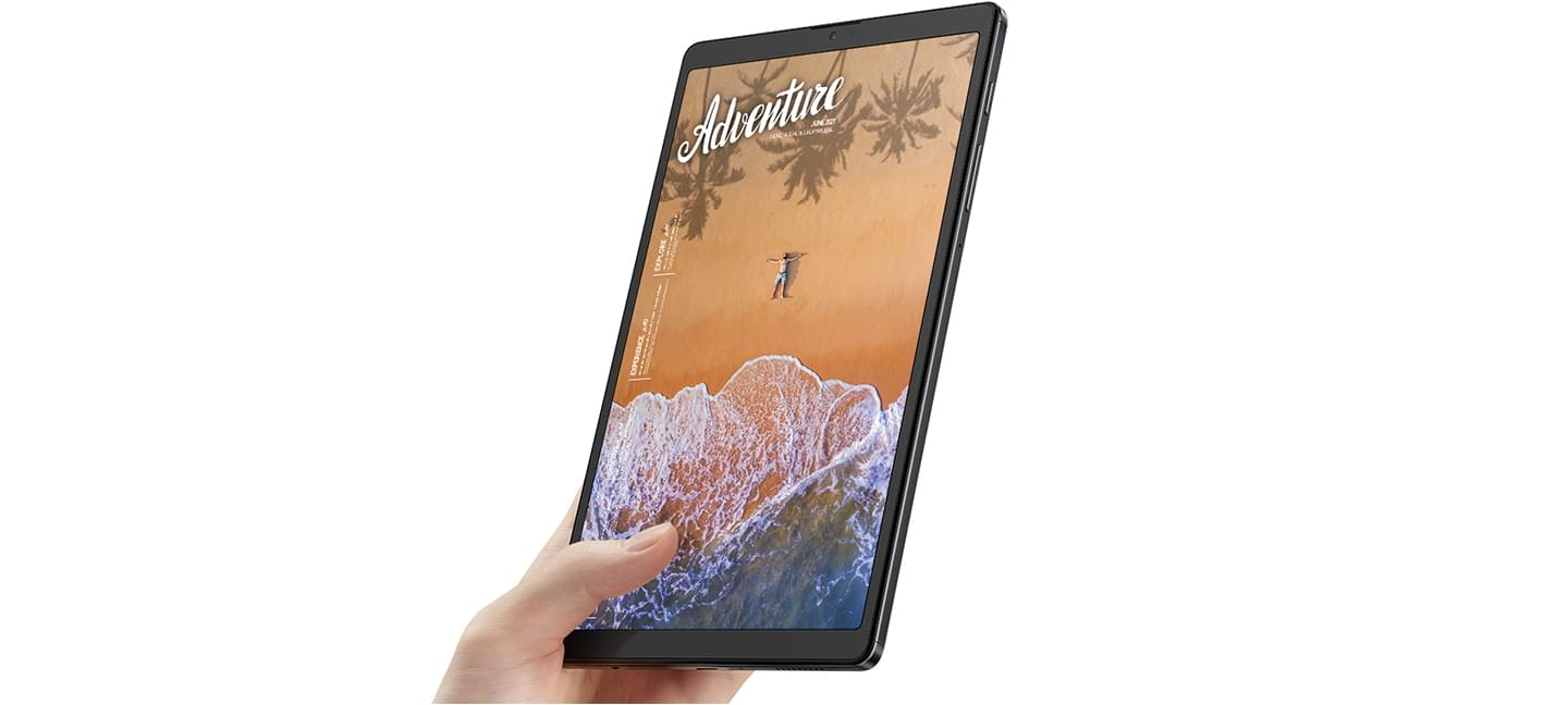 Galaxy Tab A7 Lite 4G being held upright