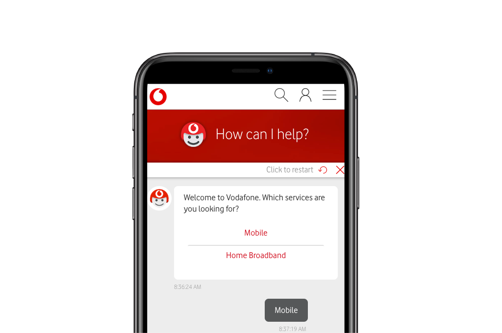 TOBi app on device, displaying multiple options