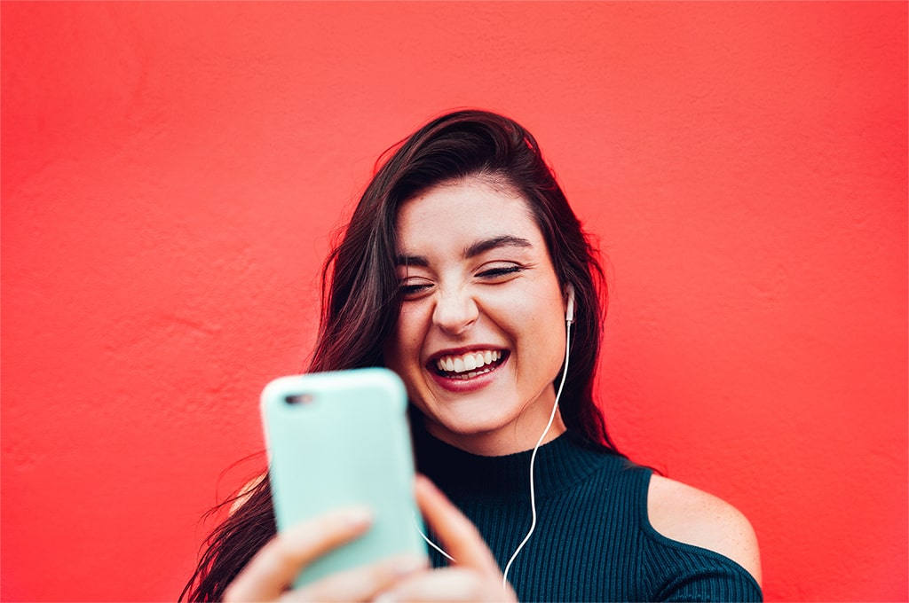 Young woman making a video call