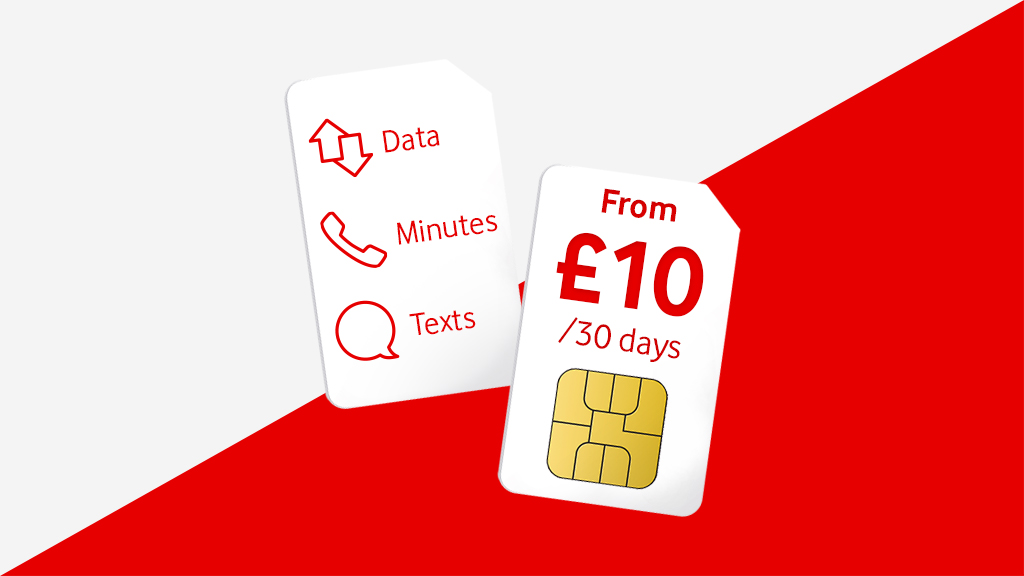 Data, minutes, texts from £10 for 30 days