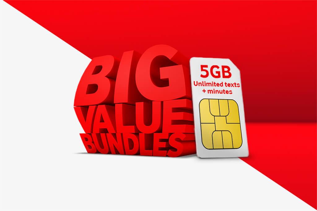 Big Value Bundles, 5GB Unlimited texts + minutes, All for just £10