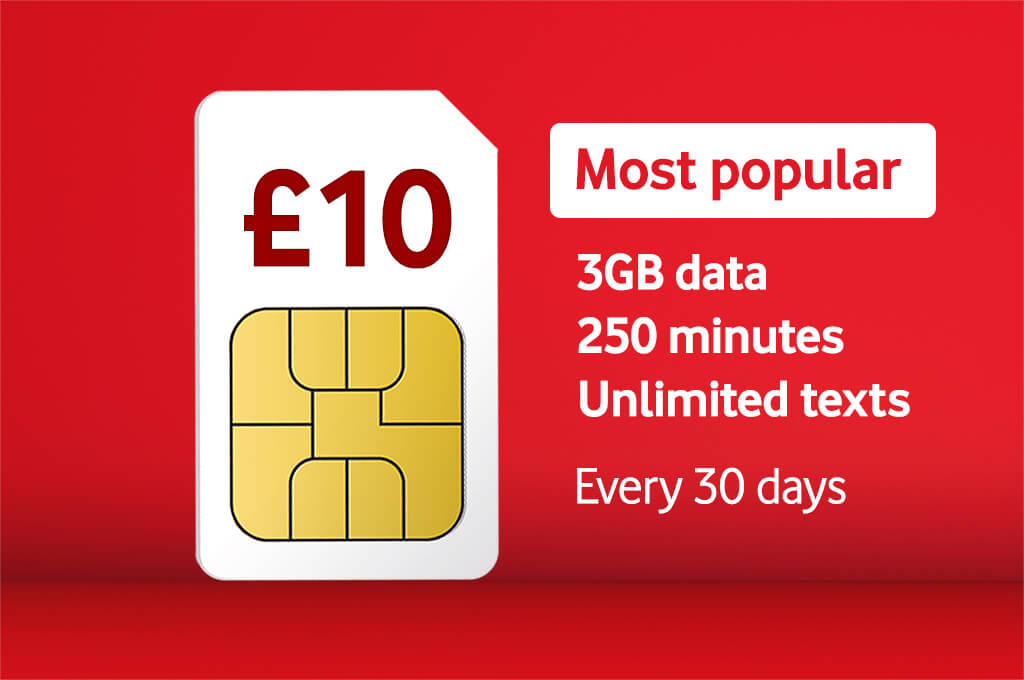£10 Bundle, Most popular 3GB data, 250 minutes, Unlimited texts, Every 30 days