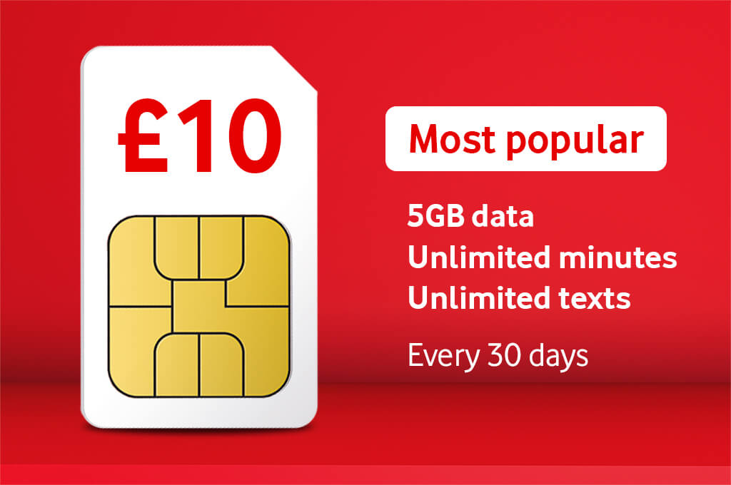 £10 Bundle, Most popular, 5GB data, Unlimited minutes, Unlimited texts, Every 30 days