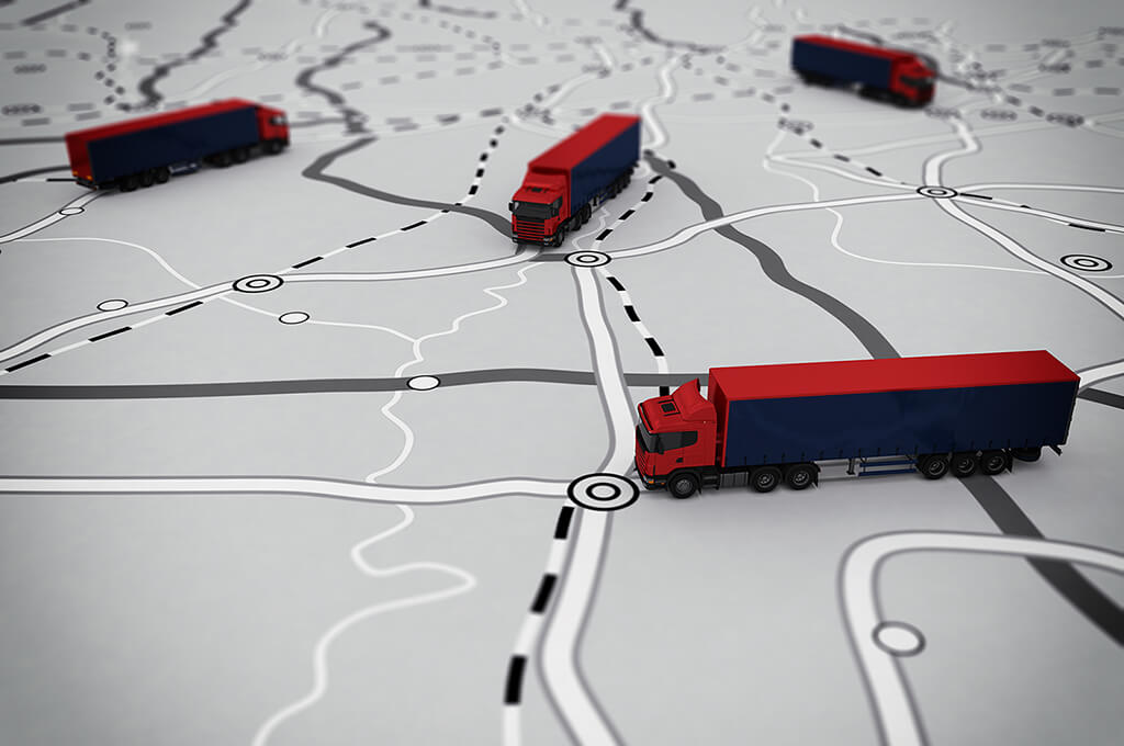 Lorries on a map