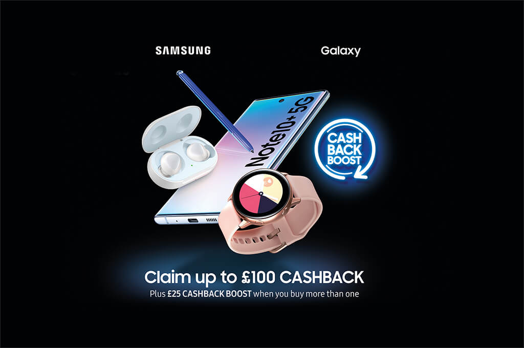 Claim an extra £25 Cashback Boost on selected Samsung devices